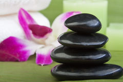 Thermo-therapy stones with orchids (2) Stock Photos