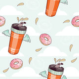 Thermocup and donut pattern Royalty Free Stock Image