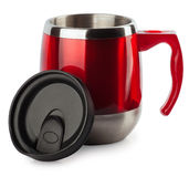 Thermocup red with a black pen isolate Stock Image