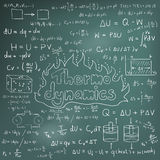 Thermodynamics law theory and physics mathematical formula equat. Ion, doodle handwriting icon in blackboard background with hand drawn model, create by Royalty Free Stock Photography