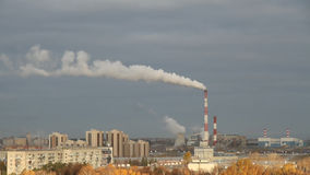 Thermoelectric plant and city in the fall. Kazan, Russia stock video
