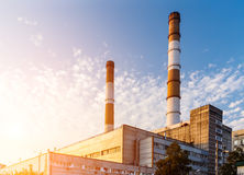 Thermoelectric plant on the sky background Stock Photo
