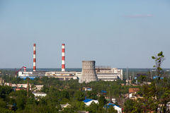 Thermoelectric power station with cooling tower Royalty Free Stock Image