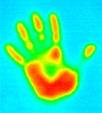 Thermografiek-hand af:drukken Stock Foto's