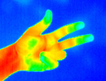 Thermograph-3 fingers. Real infrared (thermic) photo of three fingers on blue background Stock Images