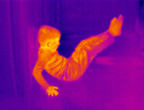 Thermograph-Boy gym 2. Child doing gym exercises with legs up. Real infrared (thermic) photo Stock Photo