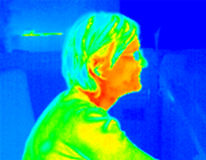 Thermograph-girl profile1. Profile of smiling girl wearing glasses. Real infrared (thermic) photo Royalty Free Stock Photography