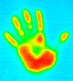 Thermograph-Handdruck Stockfotos