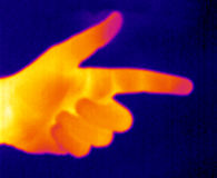 Thermograph-Pointing Hand. Real infrared (thermic) photo of a pointing hand Royalty Free Stock Photo