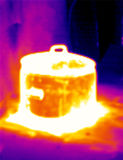 Thermograph- Steaming pot 2. Real infrared (thermic) photo of a hot steaming pot Royalty Free Stock Images