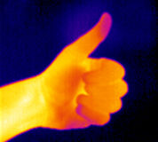 Thermograph-Thumb up. Real infrared (thermic) photo of a thumb up Stock Images