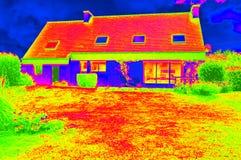 Thermographic bild av ett hus Arkivfoto