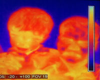 Thermography. Infrared thermography (IRT), thermal imaging, and thermal video are examples of infrared imaging science. Thermographic cameras detect radiation in Royalty Free Stock Images