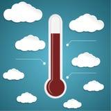Thermomètre abstrait sur le fond bleu avec des nuages Image stock