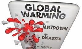 Thermomètre de crise de changement climatique de réchauffement global illustration libre de droits