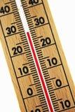Thermomètre en bois abstrait Photos stock