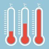 Thermomètres dans l'icône plate de style et de thermomètre, thermom médical Illustration Stock