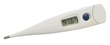 Thermometer. Isolated white digital clinical thermometer measuring fever heat royalty free stock image