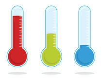 Thermometer. Set of three color thermometers Royalty Free Stock Photography
