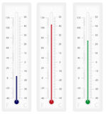 Thermometer. Vector illustration of thermometers with Celsius and Fahrenheit scales - isolated on white stock illustration
