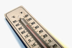 Thermometer. Measuring in celsius and fahrenheit stock images