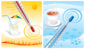 Thermometer. Two thermometer show cold & heat Stock Images