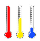 Thermometer. Vector illustration of three thermometer at various temperature Royalty Free Stock Image