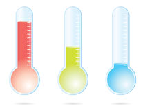 Thermometer. Set of three color thermometers Royalty Free Stock Photos