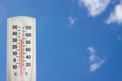 Thermometer against a blue sky Royalty Free Stock Image
