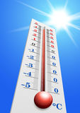 Thermometer - Air temperature measuring device in vector. Heat weather. On the thermometer 40 degrees Stock Images