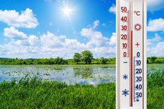 Thermometer on the background of the summer landscape with a river on a sunny day shows 30 degrees of heat. Summer heat_ royalty free stock image