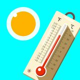 Thermometer with Blue Sky and Sun. Hot Summer Day Symbol. Vector Vector Illustration