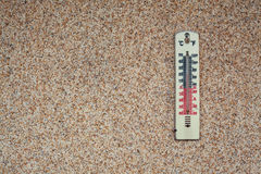 Thermometer on Brown Wall. Details of a thermometer on brown wall, showing temperature in Celsius and Kelvin degrees Stock Photos