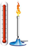 Thermometer and burnsen with flame. Illustration Stock Image
