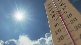 Outdoor thermometer reaches 30 thirty degrees centigrade. Weather forecast related 3D animation. Thermometer close-up. Weather forecast related 3D stock footage