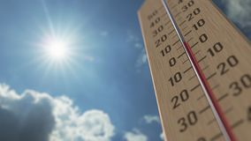 Outdoor thermometer reaches 20 twenty degrees centigrade. Weather forecast related 3D animation. Thermometer close-up. Weather forecast related 3D stock footage
