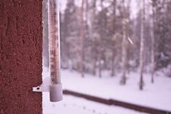 Thermometer on a cold day or hot day measures the temperature. Analog thermometer. royalty free stock image