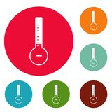 Thermometer cold icons circle set vector. Isolated on white background Royalty Free Stock Photography
