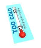 Thermometer with cold temperature Stock Photography