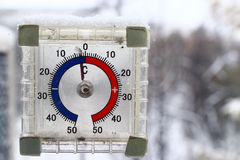 Thermometer with  cold temperature Royalty Free Stock Photos