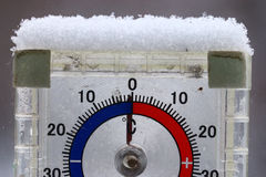 Thermometer with  cold temperature. Thermometer with winter cold temperature Royalty Free Stock Photography