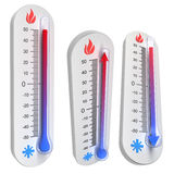 Thermometer concepts - rise and fall of temperat. Ure - 3D render royalty free illustration