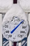 Thermometer covered by snow reads 60 degrees. A thermometer covered by melting snow in the sun`s direct sunlight reads 60 degrees after a heavy snow spring stock photography
