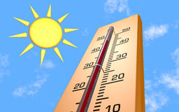 Thermometer. Is 3d rendered on picture Royalty Free Stock Photos