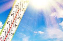 Thermometer in the sun. Thermometer with 40 degrees in the sun stock photo