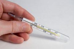 Thermometer in der Hand Lizenzfreie Stockfotografie