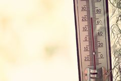 Thermometer, der Temperatur in den Grad Celsius zeigt Stockfotos