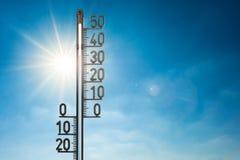 Thermometer die 50 graden tonen Royalty-vrije Stock Fotografie