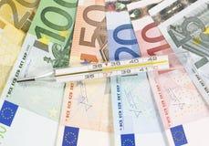 Thermometer en geld Royalty-vrije Stock Fotografie