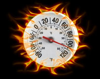 Thermometer on fire black. Round thermometer on fire shot on black background Stock Photos
